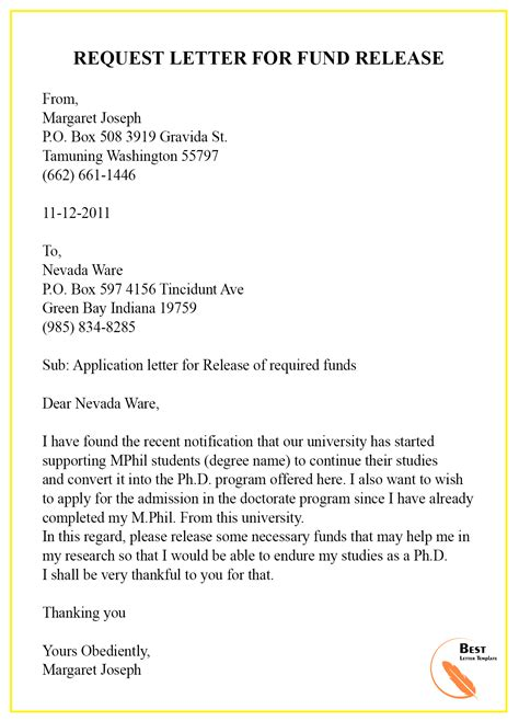 request letter template  funding format sample