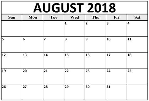 printable calendar template august 2018 calendar printable template with holidays pdf word excel