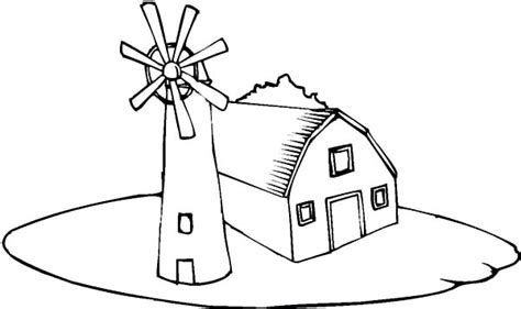 Barn And A Windmill Coloring Page