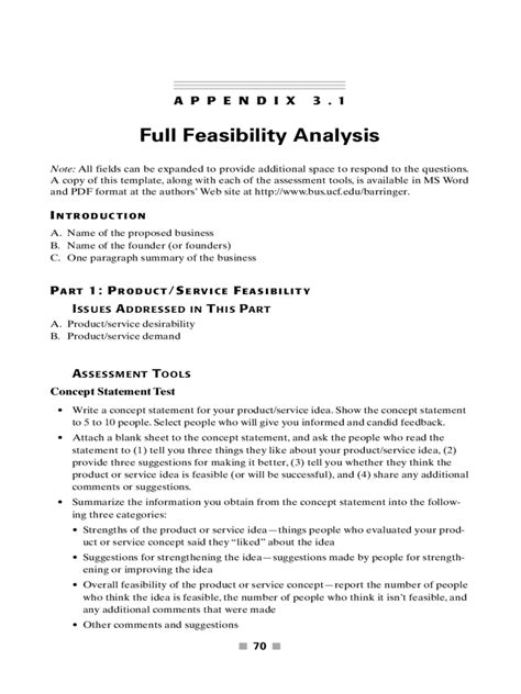 feasibility analysis template   templates