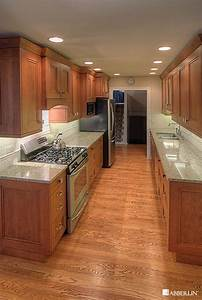 Galley kitchen lighting contemporary with chrome