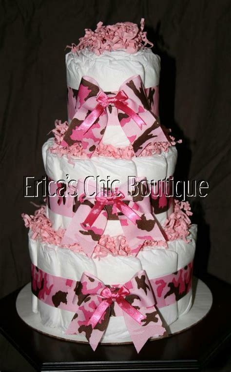 baby girl pink camouflage camo diaper cake shower gift