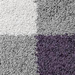 Teppich Grau Lila : moderner hochflor teppich karo muster shaggy zottel teppiche lila grau creme hochflor teppich ~ Indierocktalk.com Haus und Dekorationen