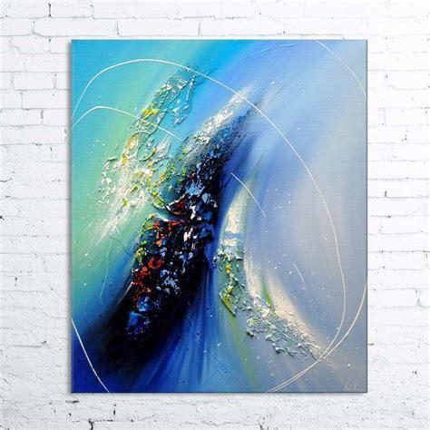 windaria tableau abstrait moderne contemporain peinture 224 l huile en relief bleu blanc noir