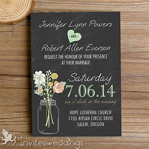 Rustic mason jars chalkboard wedding invitations iwi335 for Mason jar beach wedding invitations