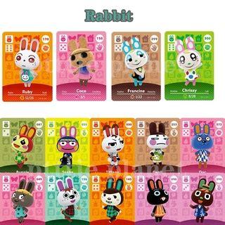 Works like amiibo and unscanned. Rabbit Set Animal Crossing Amiibo Card New Horizons For Switch Coco Chrissy Carmen Ruby Genji ...