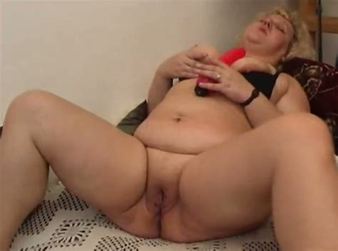Fat Ass Old Bitch Fucks Her Greasy Pussy With Her Rabbit