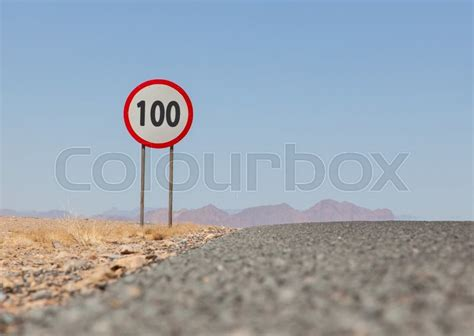 Speed Limit Sign At A Desert Road In Namibia, Speed Limit