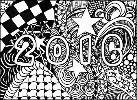 Kleurplaat Happy New Year by Therapy Coloring Page New Year 2016 Happy New Year