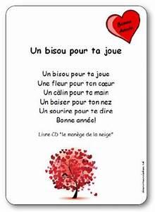 """Comptine Un bisou pour ta joue de Michèle Bertrand Paroles illustrées à imprimer """"Un bisou"""