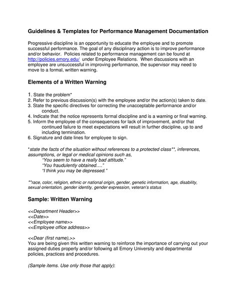 Behavior Warning Letter To Employee | Templates at