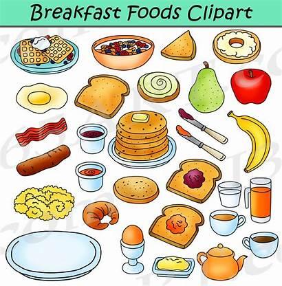 Breakfast Clipart Foods Graphics Meals Bundle Clip