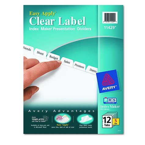 avery dennison maker clear label divider im 12 tab