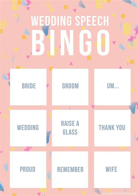 wedding speech bingo  printable game  man