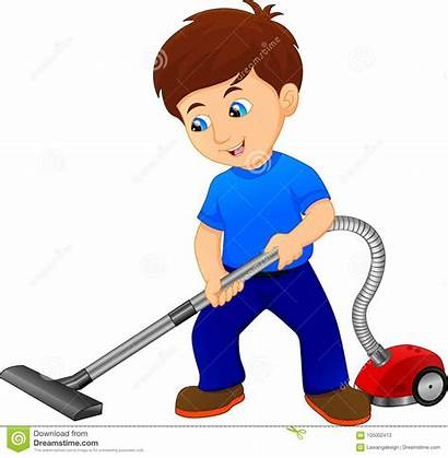 Vacuum Illustration Clipart Boy Floor Cleaner Vector