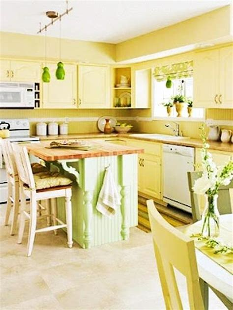 Small Kitchen Design In Yellow Blue Shades by 20 Modern Kitchens Decorated In Yellow And Green Colors