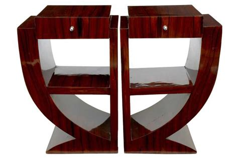 Table Lamps Silver by Pair Art Deco Rosewood Nightstands Bedside Tables Furniture