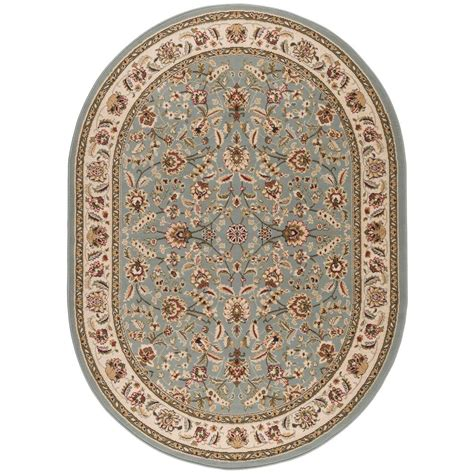 Blue Oval Rug by Tayse Rugs Laguna Blue 5 Ft 3 In X 7 Ft 3 In Oval