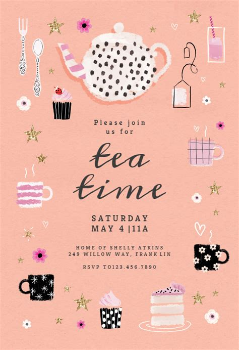 tea party  brunch lunch invitation template