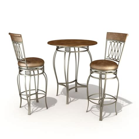 bar set table and chairs 3d model cgtrader