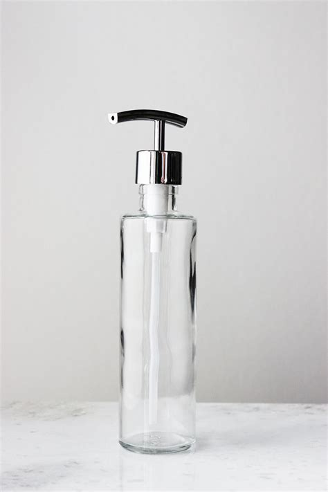 long lean recycled glass soap dispenser clear
