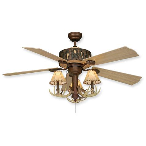 rustic ceiling fans with lights log cabin rustic ceiling fan w antler light kit