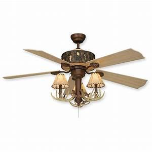 Log cabin rustic ceiling fan w antler light kit