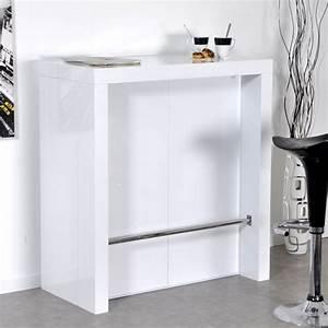 Bar laque blanc algo console extensible lestendancesfr for Meuble de cuisine blanc laque 11 table console extensible bunny 4 allonges laquee blanc