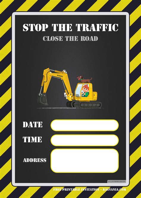 construction party invitation templates backhoe