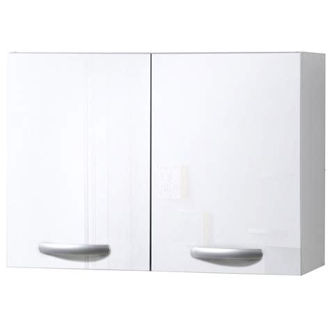 meuble haut cuisine blanc meuble de cuisine haut 2 portes blanc brillant h57 x l80