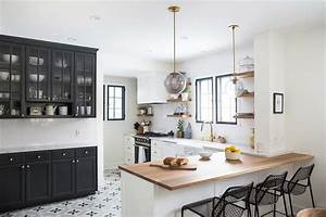 white and black kitchen with gray cement star floor tiles With what kind of paint to use on kitchen cabinets for wall art wrought iron