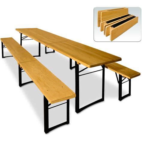 Ensemble Table Et Bancs Pliable En Bois  220 Cm Pour