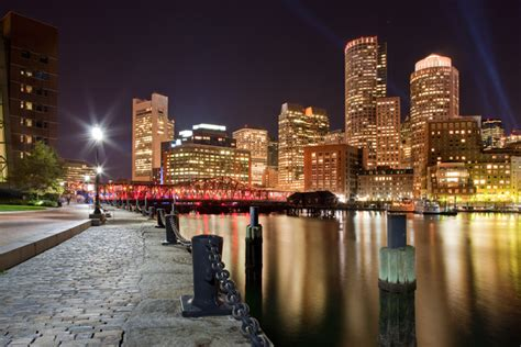 Rowes Wharf At Night Boston Massachusetts Robert M