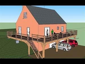 terrasse bois projet construction sur pilotis youtube With terrasse bois pilotis plan