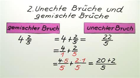 gemeine brueche  gemischte brueche umwandeln mathematik
