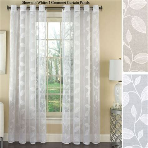 embroidered curtain panels avery semi sheer embroidered grommet curtain panels
