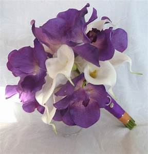 4 Piece Purple Orchid Bridal Bouquet Real Touch Purple ...