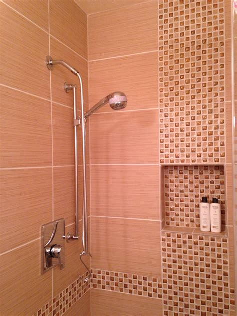 tile  offset vertical mosaic inlay shower