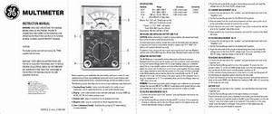 Ge 50952 Ge Analog Multimeter User Manual