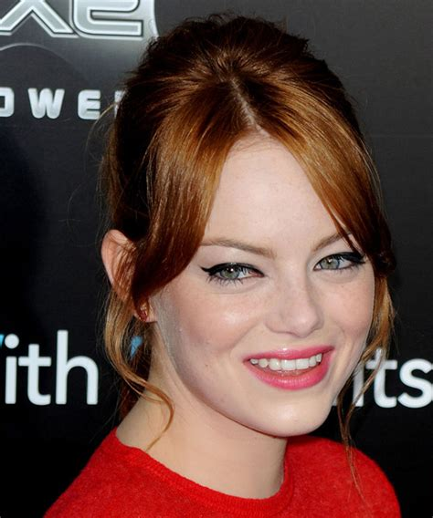 emma stone long straight copper red updo  layered bangs