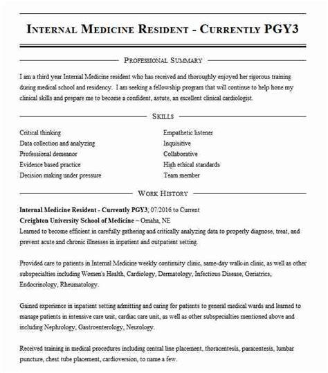 internal medicine resident  pgy  resume