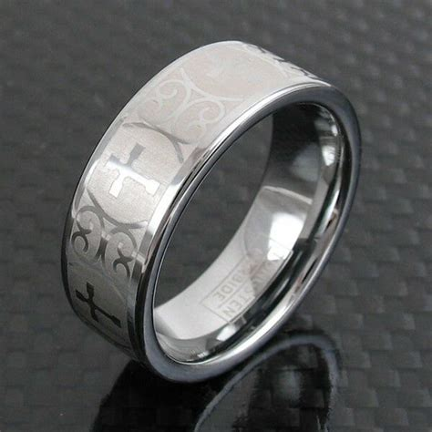 tungsten ornate cross design etched wedding band ring size 5 13 ebay