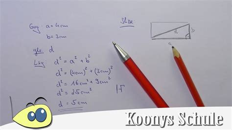 diagonale von rechteck berechnen beispiel satz des