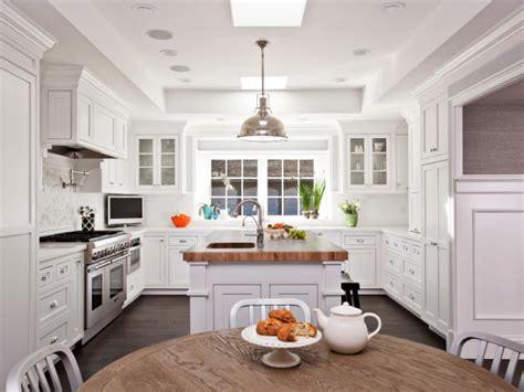 transitional white kitchen  butcher block island hgtv
