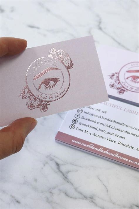 rose gold foil printed business card  auckland lash