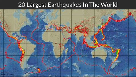 mapped  largest earthquakes   world tony mapped