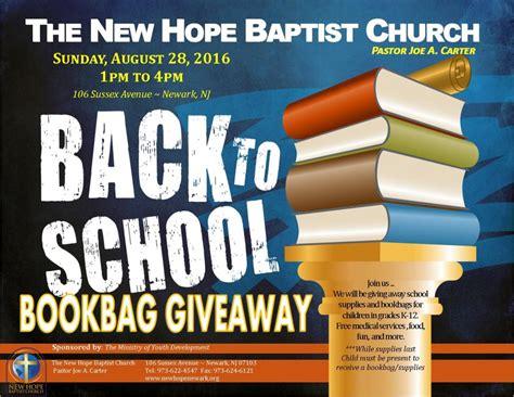 hope baptist church   school book bag