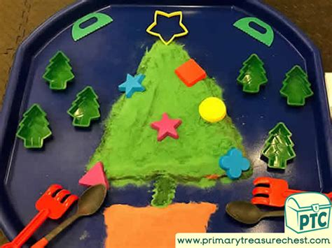 christmaswinter themed sand tuff trays primary treasure