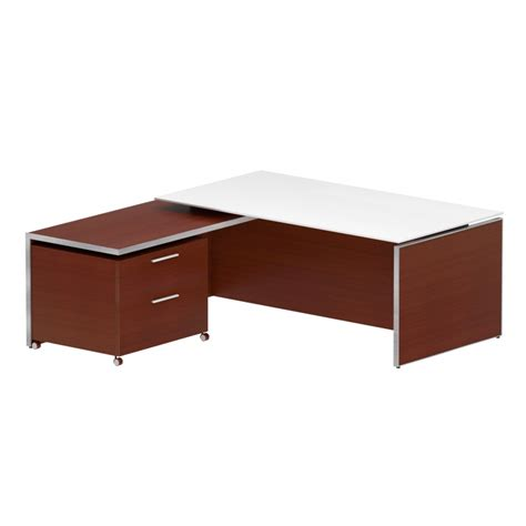 white desk with wood top chiarezza executive l shaped desk with white frost glass