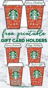 printable christmas starbucks gift card holder